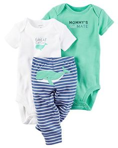 Carter's Baby Boys 3 Piece Little Character Bodysuit and Pant Set (Whale)(6 Months)