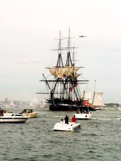 USS Constitution sails on its own power for the first time since 1881, Boston Harbor. View from Castle Island. 19 Aug 2012