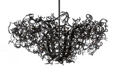 Flower Power Contemporary Chandelier in black finish. See more modern lighting collections and finishes at WWW. Murano Chandelier, Metal Chandelier, Hanging Lights, Wall Lights, Ceiling Lights, Custom Lighting, Modern Lighting, Hudson Furniture, High End Lighting