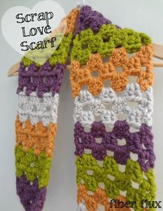 This scarf is full of scrappy goodness.  A simple vertical granny stripe shows off the many colors of all of your beautiful yarn le...