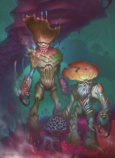 Myconid mushroom humanoid human hybrid alien lifreform monster beast creature animal | Create your own roleplaying game material w/ RPG Bard: www.rpgbard.com | Writing inspiration for Dungeons and Dragons DND D&D Pathfinder PFRPG Warhammer 40k Star Wars Shadowrun Call of Cthulhu Lord of the Rings LoTR + d20 fantasy science fiction scifi horror design | Not Trusty Sword art: click artwork for source