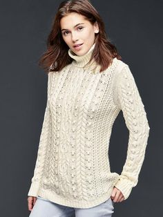 Cable knit turtle-neck sweater | Gap