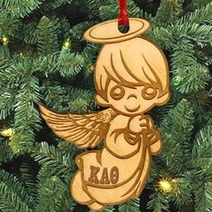 Gamma Sigma Sigma laser-engraved angel ornament with Greek letters. Ornament is Natural Basswood and is approximately, inches. Rush service is available for of the total price. This service can be selected during the checkout process.