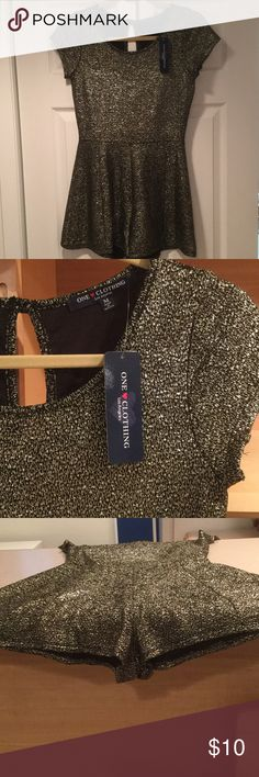 Romper New with tags fun romper with sparkle and a bit of stretch making this look great and feel so comfortable. one clothing Dresses