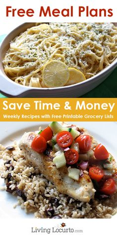 Free Money Saving Weekly Meal Plans! Free Printables with simple family recipes and grocery lists. So great!