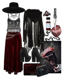 """""""Southern Gothic Witch: Countess"""" by bloodmoonsuccubus ❤ liked on Polyvore featuring Wolford, Miss Selfridge, Résho Spirit Jelly, Fallon, Jeffrey Campbell and Maison Michel"""