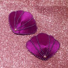 Little mermaid seashell purple pearl clam nipple pasties covers tassels lingerie bra costume under the sea burlesque show girl by ParodyPetals on Etsy https://www.etsy.com/listing/220981082/little-mermaid-seashell-purple-pearl