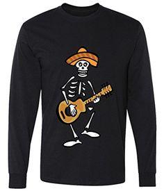 Day of The Dead Skeleton Skull Guitar Mariachi Long Sleeve T-Shirt
