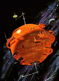 A tangerine Death Star spinning in the inky blackness of space. This is cover art for the 1977 Discus Editon of Isaac Asimov's 'The Planet That Wasn't'. Art by Dean Ellis. Arte Sci Fi, Sci Fi Art, Science Fiction Kunst, Science Books, Cyberpunk, Classic Sci Fi, Isaac Asimov, Space Station, Space Crafts