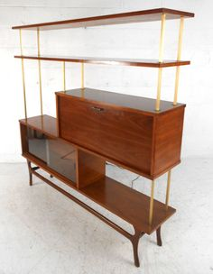 Unique Mid-Century Modern Walnut Wall Unit Room Divider With Dry Bar | From a unique collection of antique and modern shelves at https://www.1stdibs.com/furniture/storage-case-pieces/shelves/