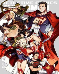 Justice League - Green Arrow, Black Canary, Hawkgirl, Green Lantern, Supergirl, Wonder Woman, Superboy, Krypto, Flash, Power Girl, Superman.