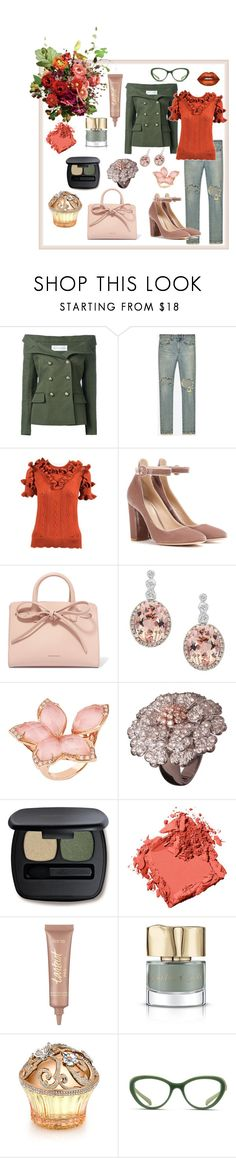 """""""Bouquet"""" by shoultesshark ❤ liked on Polyvore featuring Faith Connexion, Yves Saint Laurent, Gucci, Gianvito Rossi, Mansur Gavriel, Effy Jewelry, Stephen Webster, Bare Escentuals, Bobbi Brown Cosmetics and Lime Crime"""
