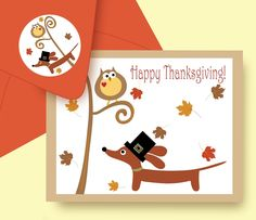 Etsy Transaction - Thanksgiving Doxie and Owl Autumn Dachshund Card with Coordinating Envelope Edition 2