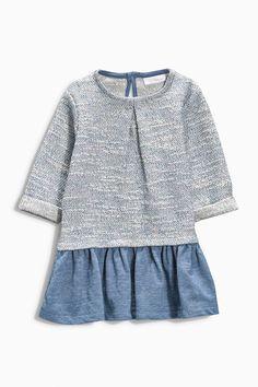 Buy Blue Textured Dress (0-18mths) online today at Next: Belgium