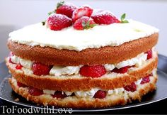 To Food with Love: Biscuit de Savoie (Sponge cake with berries and cream)