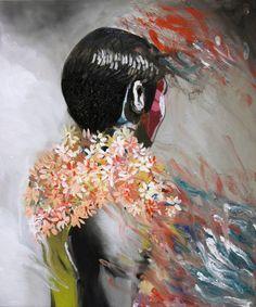 "Saatchi Art Artist Hanna Ilczyszyn; Painting, ""men with flowers (exhibition)"" #art"