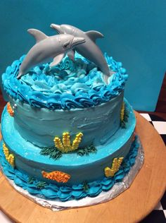 Awesome Picture of Dolphin Birthday Cake – Kuchen Rezept Dolphin Birthday Cakes, Dolphin Birthday Parties, Dolphin Cakes, Animal Birthday Cakes, Dolphin Party, Football Birthday Cake, 18th Birthday Cake, Themed Birthday Cakes, Themed Cakes