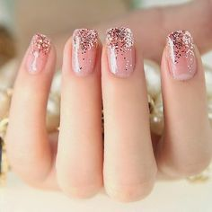Glitter tip nails girly cute nails girl nail polish nail pretty girls pretty nails nail art nail ideas nail designs Easy Nails, Simple Nails, Love Nails, Pretty Nails, Gorgeous Nails, Amazing Nails, Cute Pink Nails, How To Do Nails, French Nails Glitter