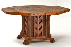 Barnwood Octagon Dining Table with Leather & Copper Inlay - Crafted From Reclaimed Barnwood - Item #DT00128 - Custom Sizes Available - 17 Standard Color & 1000 Color Options