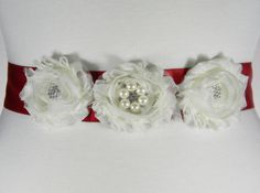 Red Flower Girl Sash and Hair Clip Set  by PrettyCountryBridal
