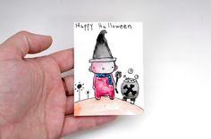 Witch ATC Kawaii Witch Painting Halloween Robot ACEO by Cyclop
