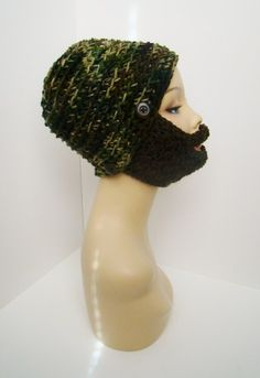 "Camo Detachable Beard Hat $28 -- LIKE MY PAGE >  www.facebook.com/tzigns -- SHOP > www.tzigns.etsy.com Coupon code ""Pin10"" saves you 10%! #christmas #gift #giftguide #giftsforher #crochet #etsy #yarn"