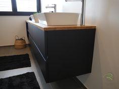 Vanity, Bathroom, Condo Bathroom, Open Shelving, Wood Slab, Bathing, Dressing Tables, Washroom, Powder Room