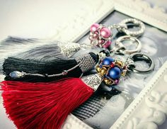 Handmade pendants with tassel and beaded ball