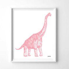 Nursery Wall Art Pink Dinosaur Printable Wall Art by woolfwithme