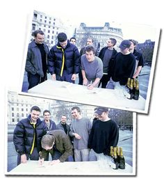 "xmarksthexyloto: ""Baby Coldplay signing their record deal with Parlophone in Trafalgar Square, London. """