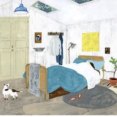The room with skylight by Fumi Koike.Giclée print of an original in acrylic, gouache on Kent paper board. ✨link in bio ✨ Illustrations, Illustration Art, Soul Art, Cozy Room, Magazine Art, Gouache, Insta Art, Graphic Prints, Art Direction