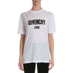 Givenchy Distressed Logo T-Shirt ($775) ❤ liked on Polyvore featuring tops, t-shirts, white, women's apparel tops, short sleeve t shirts, distressed white t shirt, white cotton t shirts, white crew t shirt and cotton pullovers