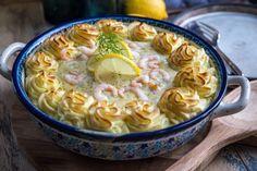 Recept på fiskgratäng med räkor