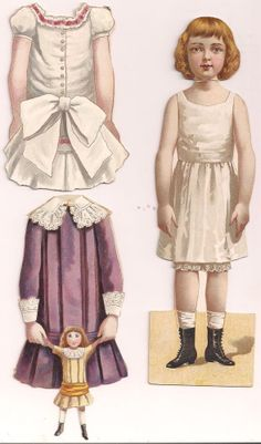 Paper Doll 6 Dresses 5 Hats, Publisher is Unknown Doll is Old