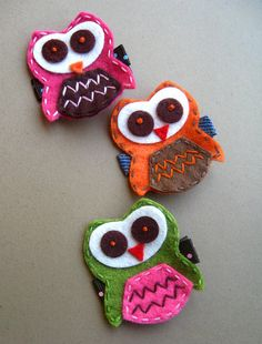 Felt Owl Hair Clip Raspberry Pink Clippie for Toddler and Kids