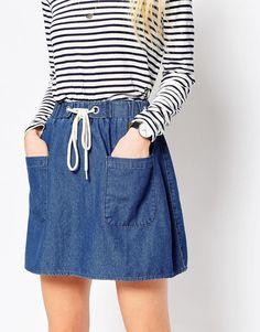 Image 3 ofASOS Denim High Waist Flippy Mini Skirt in Mid Wash Blue