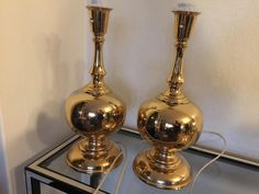Aneta Växjö brass table lamps, Scandinavian Space Age 1970s, Mid Century Modern, space age / atomic age