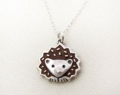 Hedgehog necklace silver and concrete by lulubugjewelry on Etsy, $58.00