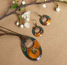 Lifespiral Cloisonne Enamel necklace and earrings jewelry set in green turquoise and yellow Handmade Bohemian summer necklace with earrings