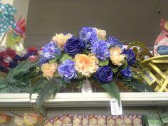 Peach and blue headstone saddle