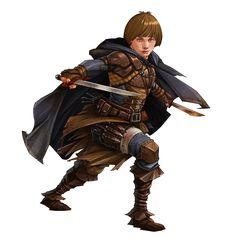 f Halfling Rogue Thief Leather Cloak Swords Daggers midlvl ArtStation - Characters, Saeed Jalabi