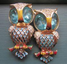 Darling 1940s Coro Craft Sterling Aqua Enamel Rhinestone Owls Duette Brooch