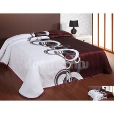 Prehoz na posteľ bielo-bordovej farby s kruhovým motívom Luxury Bedding, Bed Sheets, Comforters, Blanket, Pillows, Furniture, Home Decor, Creature Comforts, Quilts