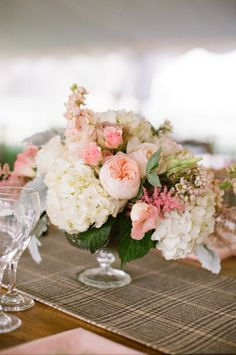Garden roses and hydrangeas