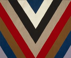 This strikingly modern textile was a collaborative effort between American abstract painter Kenneth Noland and Navajo weaver Mary Lee Begay. Talented Navajo weavers usually create from memory, but in this case Begay agreed to work from Noland's painted design.