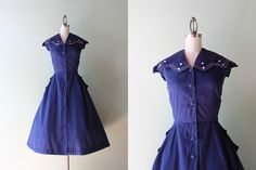 50s Cotton Dress / Vintage 1950s Dress / 50s Navy by HolliePoint, $88.00