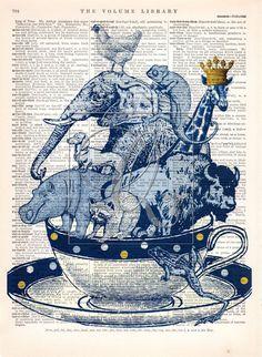 Blue Animal Art Print nursery wall art buffalo elephant hippo raccoon giraffe frog weiner dog chameleon tea cup dictionary art print no. 93 by quiveringbeeprints on Etsy https://www.etsy.com/listing/470233320/blue-animal-art-print-nursery-wall-art