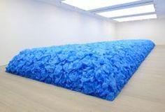 Jean-François Boclé, Everything Must Go. Blue plastic shopping bags. 2014