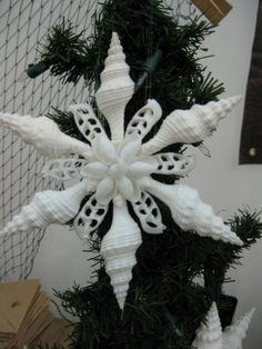 Beach Christmas, Christmas Ornaments To Make, Coastal Christmas, Christmas Snowflakes, Christmas Tree Decorations, Christmas Wreaths, Seashell Ornaments, Seashell Art, Seashell Crafts