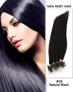 """18"""" 100 Strands Loop Micro Ring Beads Tipped Remy Hair Human Hair Extensions"""